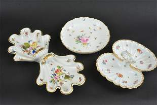HEREND AND MEISSEN PORCELAIN SERVING PIECES