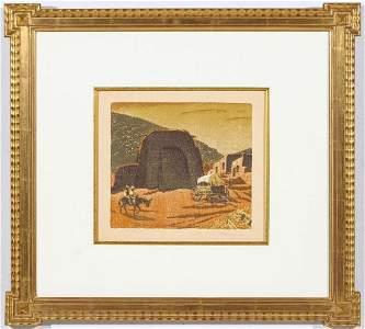 GUSTAVE BAUMANN (1881-1971) PENCIL SIGNED WOODBLOCK