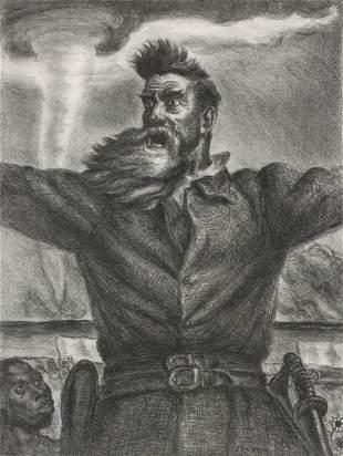 JOHN STEUART CURRY (1897-1946) PENCIL SIGNED LITHOGRAPH