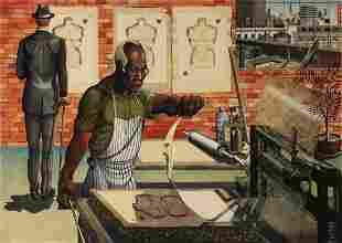 RON ADAMS (B. 1934) PENCIL SIGNED COLOR LITHOGRAPH