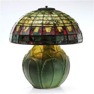 A RARE DOUBLE WALL STAINED/CONFETTI GLASS LEADED SHADE