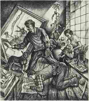 JOSEPH VORST (1897 - 1947) RARE LITHO: BENTON FAMILY