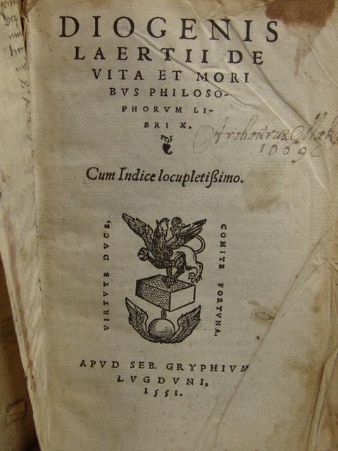Laertius. DE VITA ET MIORIBUS PHILOSOPHORUM LIBRI X.