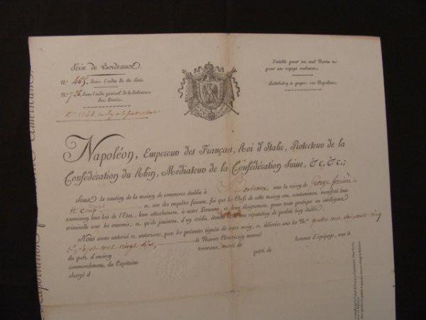 159: 1813 MARITIME DOCUMENT SIGNED BY NAPOLEON   PSA