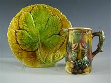 385 MAJOLICA PLATE AND PITCHER