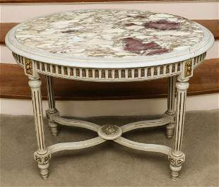 A 19th c. LOUIS XVI STYLE CENTER TABLE WITH MARBLE