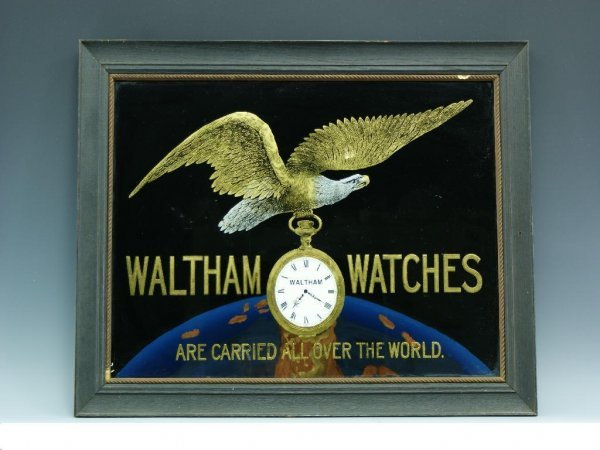 C 1900 WALTHAM WATCHES ADVERTISING SIGN REVERSE PAINTED
