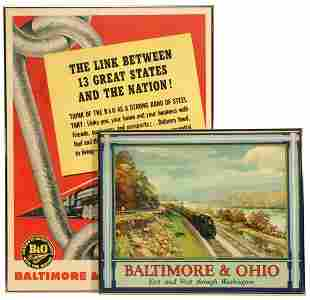 THREE FRAMED PROMOTIONS FOR THE B & O RAILROAD