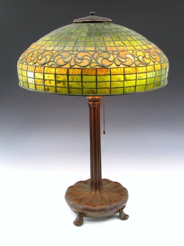A TIFFANY STUDIOS LEMON LEAF LEADED TABLE LAMP