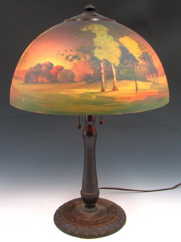 HANDEL REVERSED PAINTED LANDSCAPE LAMP