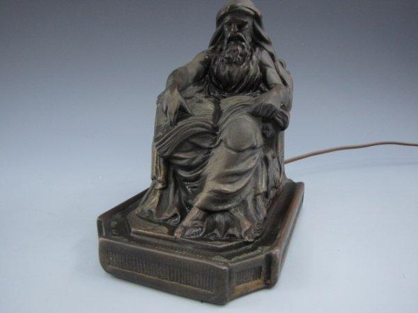 ARMOR BRONZE LAMP WITH FIGURAL BEARDED FIGURE & BOOK