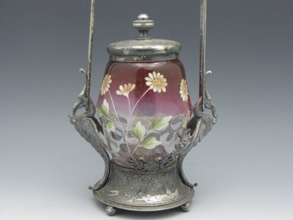 A VICTORIAN PICKLE CASTOR WITH ENAMELED RUBINA INSERT
