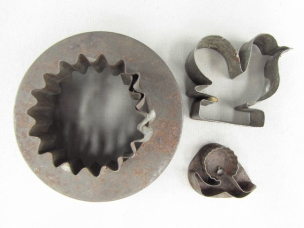 THREE 19TH CENTURY FIGURAL TIN COOKIE CUTTERS