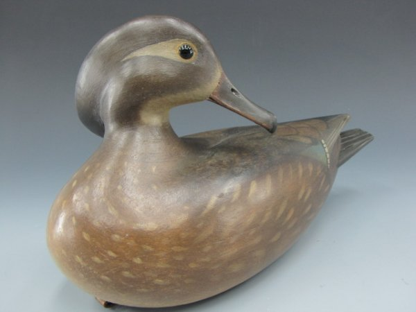 A HEN WOOD DUCK CARVED WOOD DECOY SIGNED GIBIAN