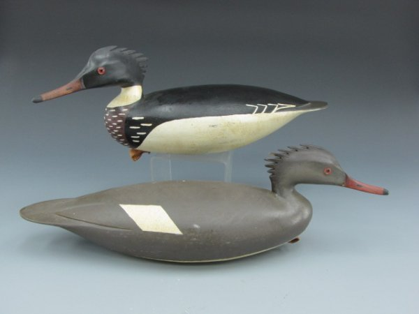 A PAIR OF MERGANSER  DECOYS BY HURLEY CONKLIN