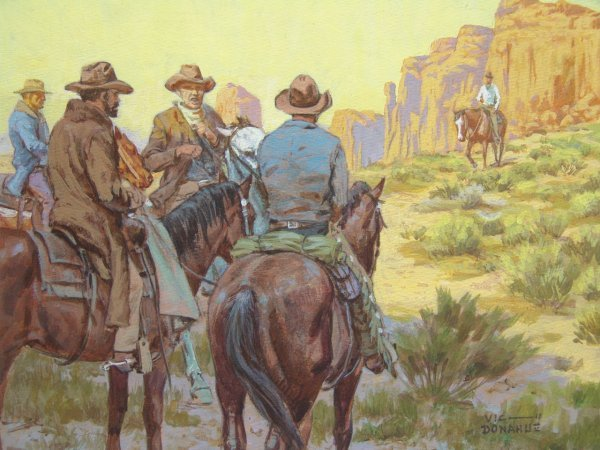 VIC DONAHUE (1918 - 2008)  WESTERN OIL ON PANEL
