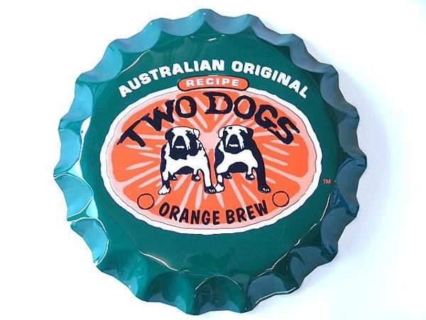 3: TWO DOGS BREW BOTTLE CAP ADVERTISING SIGN, MINT UNUS