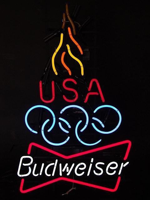 17: BUDWEISER BEER OLYMPICS NEON W/ FLAMING TORCH, MINT