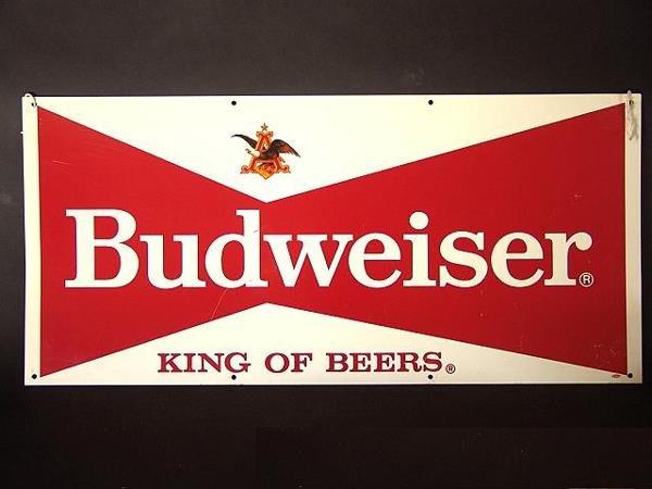 22: OLDER BUDWEISER BOWTIE ADVERTISING TIN SIGN