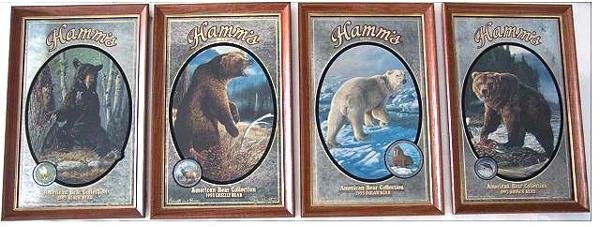 66: SET OF FOUR HAMM'S BEER ADVERTISING BEAR MIRRORS