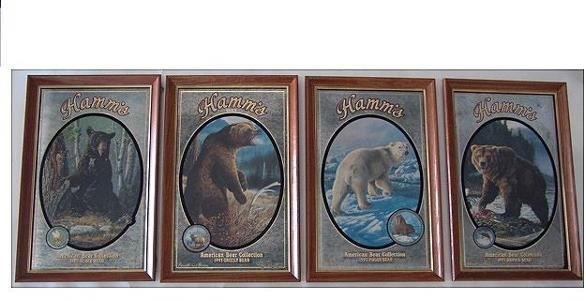 66: SET OF FOUR HAMM'S BEER ADVERTISING BEAR MIRRORS - 2