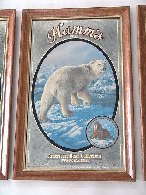 66: SET OF FOUR HAMM'S BEER ADVERTISING BEAR MIRRORS - 5