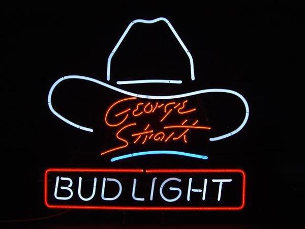 88: GEORGE STRAIT BUD LIGHT BEER ADVERTISING NEON SIGN