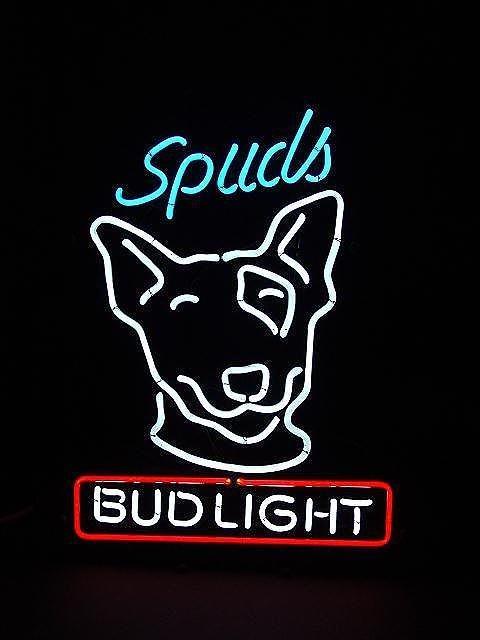 149: BUD LIGHT BEER SPUDS MACKENZIE FIGURAL NEON SIGN
