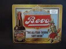195: BEVO SOFT DRINK GLASS ADVERTISING SIGN