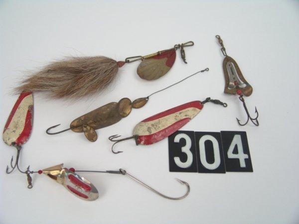 304: 1874 G.M. SKINNER, 5 OTHER ANTIQUE SPINNER FISHING