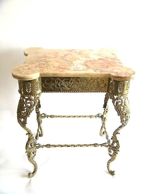 466: C. 1900 ORNATE BRASS MARBLE TOPPED TABLE DETROIT B