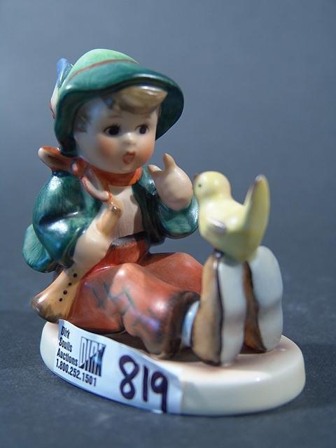 "819: HUMMEL FIGURINE TITLED ""SINGING LESSON"" 3.25"", pin"