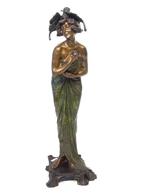 1092: C. 1900 ART NOUVEAU BRONZE SCULPTURE BY LUCIEN AL