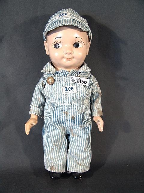 1300: BUDDY LEE RAILROAD ENGINER DOLL IN OVERALLS WITH