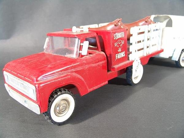 1303: STRUCTO FARMS STAKE TRUCK WITH HORSE TRAILER