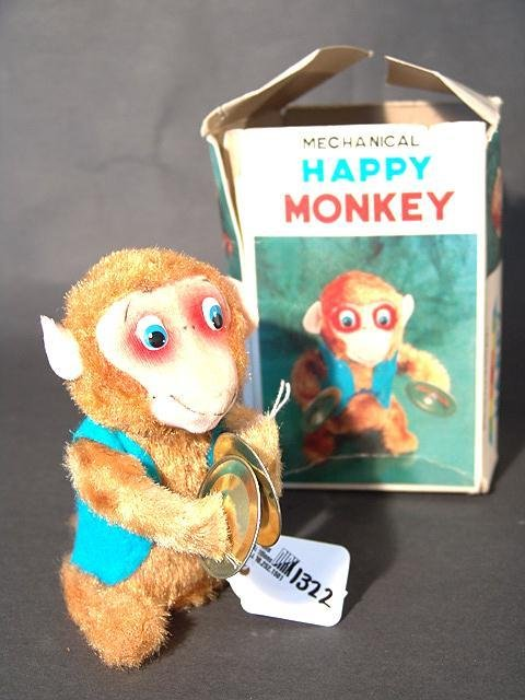 1322: HAPPY MONKEY JAPANESE WIND-UP TOY, MINT IN BOX