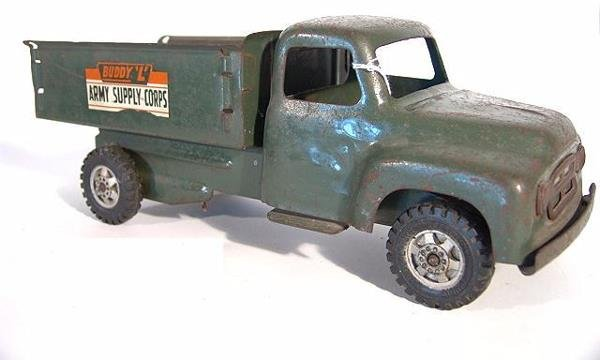1368: BUDDY L ARMY SUPPLY CORPS PRESSED STEEL TOY TRUCK