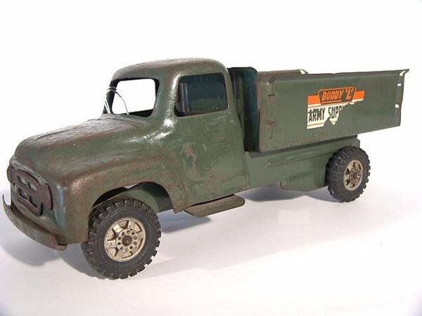 1368: BUDDY L ARMY SUPPLY CORPS PRESSED STEEL TOY TRUCK - 2