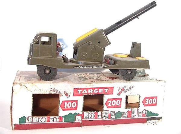 1402: NYLINT ELECTRIC CANNON TOY TRUCK IN ORIGINAL BOX
