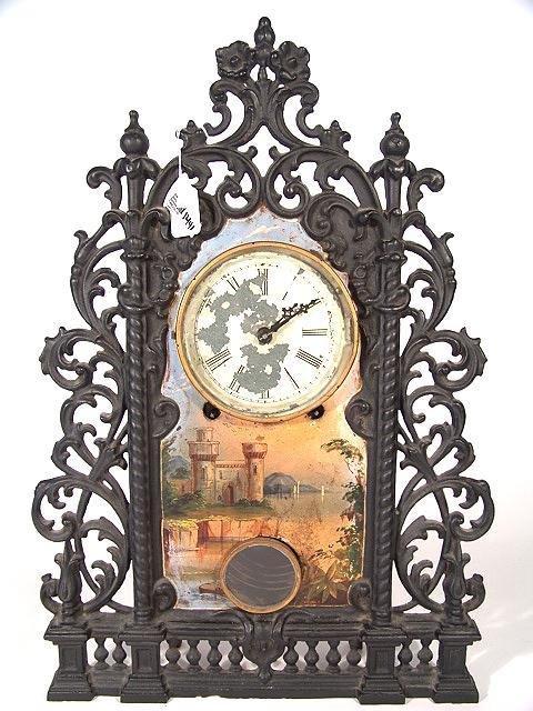 1441: BRADLEY & HUBBARD MANTLE CLOCK W ORIGINAL HAND PA