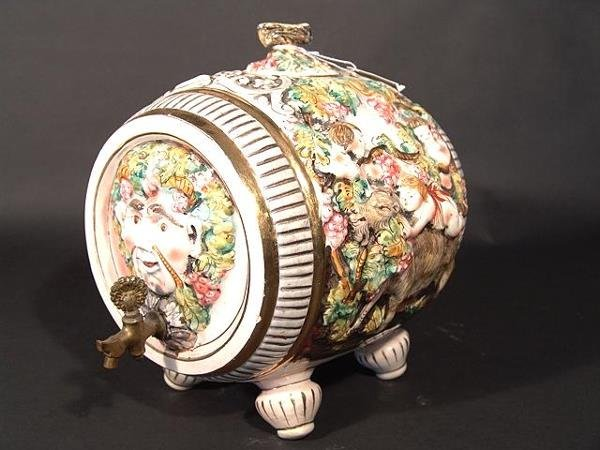 1444: CAPODIMONTE TYPE FOOTED CASK BARREL WITH SPIGOT