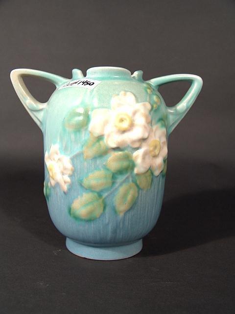 1450: ROSEVILLE WHITE ROSE 6 INCH DOUBLE HANDLED VASE