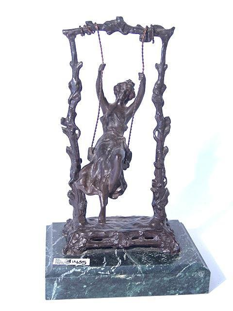 1455: BRONZE SCULPTURE OF WOMAN ON SWING AFTER MOREAU