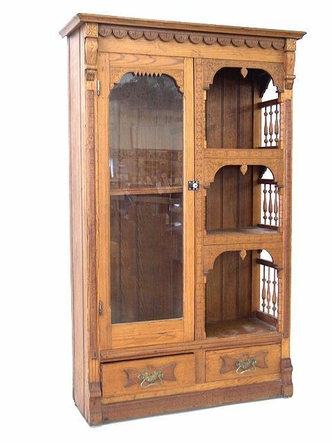 1462: VICTORIAN STYLE ETAGERE WITH BOOKCASE