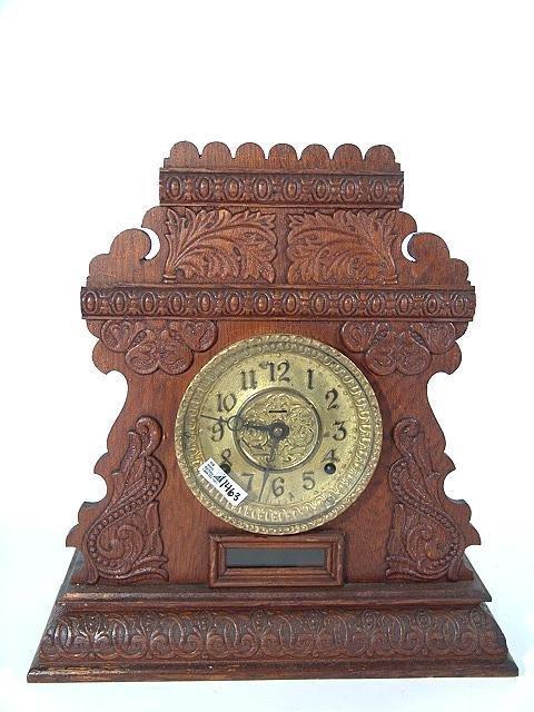 1463: INGRAHAM CABINET #14 FANCY OAK MANTLE CLOCK