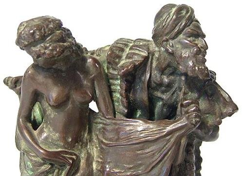1486: BRONZE SCULPTURE OF ARAB SLAVE TRADER WITH NUDE - 4