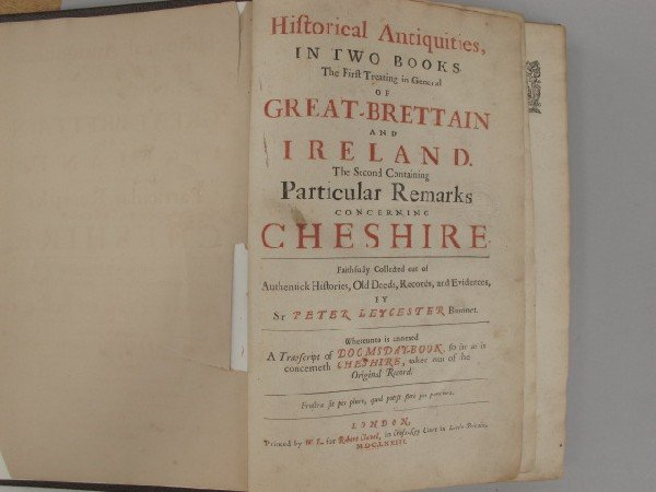 Leychester, Peter. HISTORICAL ANTIQUITIES IN TWO BOOKS