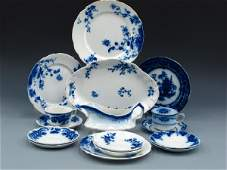 16 PIECES OF FLOW BLUE CHINA, ROSE, DUCHESS, CHEN-SI
