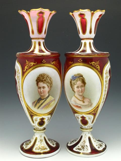 PAIR OVERLAID AND CUT BACK MOSER PORTRAIT VASES