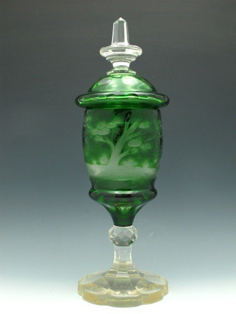 AN ETCHED BOHEMIAN GLASS POKAL WITH LID